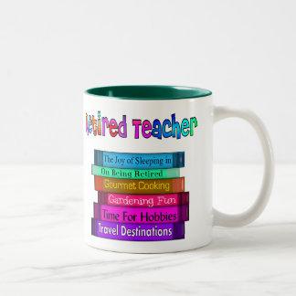 Retired Teacher Gifts Stack of Books Design Two-Tone Coffee Mug