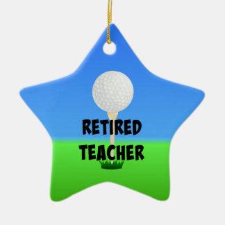 Retired Teacher - Golf Ball on Tee Ceramic Ornament