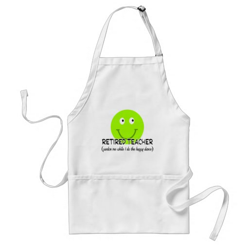 "Retired Teacher Green Smiley ""Happy Dance"" Gifts Apron"