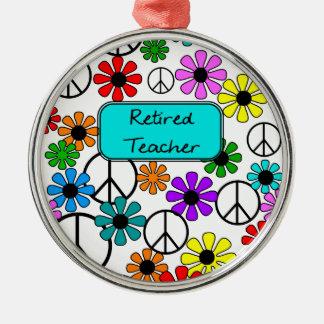 Retired Teacher Retro Flowers and Peace Signs Silver-Colored Round Ornament