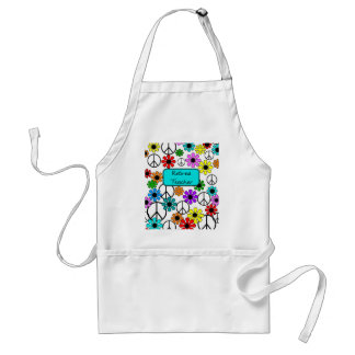 Retired Teacher Retro Flowers Apron and Peace Sign