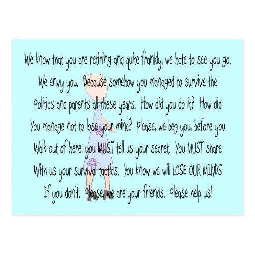 "Retired Teacher Story Art~~ ""Please Help Us"" Post Card"