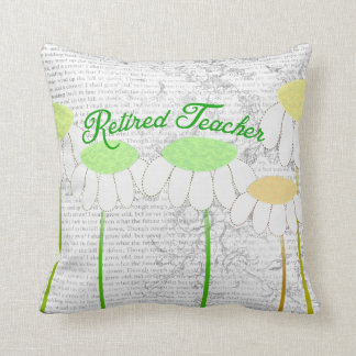 Retired Teacher Whimsical Daisies Pillow