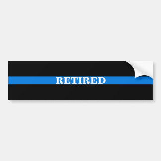 """RETIRED""THIN BLUE LINE BUMPER STICKER"