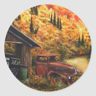 Retired Truck Classic Round Sticker