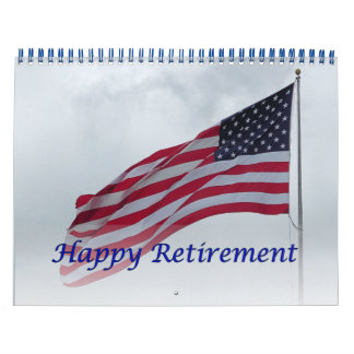 Retirement 2017 Calendar USA Flag Blue