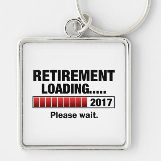 Retirement 2017 Loading Silver-Colored Square Keychain