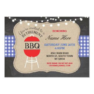 Retirement BBQ Check Chalk Burlap Blue Invitation