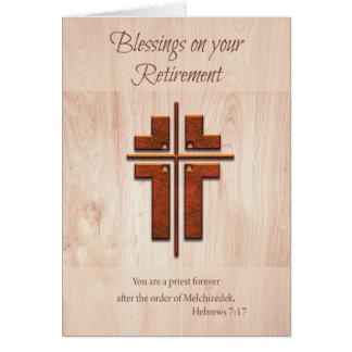 Retirement Blessings Priest, Cross on Wood Card