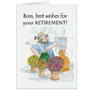 Retirement Card for a Boss - Gardener