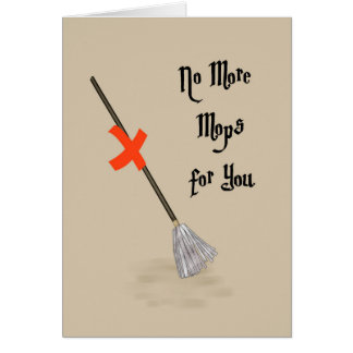 Retirement Card for Janitor with Mop