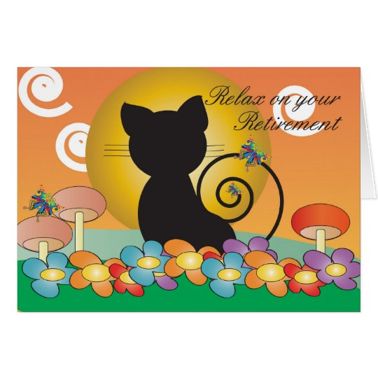 Retirement Card with Black Cat watching a sunset