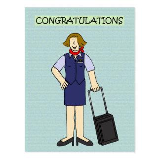 Retirement Congratulations Cabin Crew Postcard