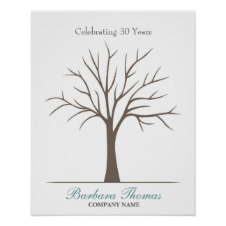 Retirement Fingerprint Tree Poster