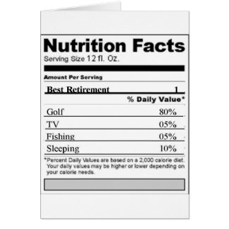 Retirement Funny Nutrition label Greeting Card