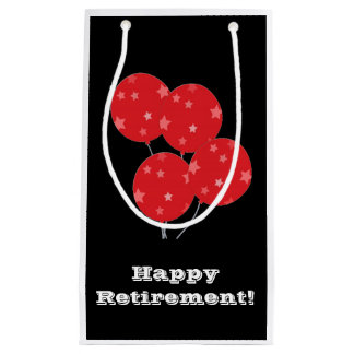 Retirement, Gift bag, balloons in black and red. Small Gift Bag
