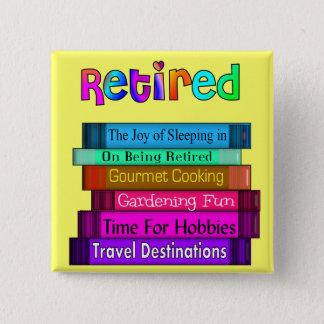 Retirement Gifts Unique Stack of Books Design 2 Inch Square Button