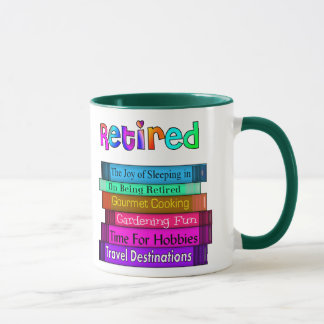 Retirement Gifts Unique Stack of Books Design Mug