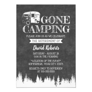Retirement Gone Camping Rustic Forest Chalkboard Card