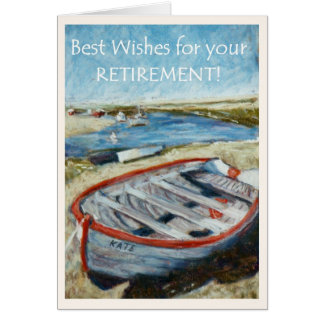 Retirement Good Wishes Card, Rowing Boat Card