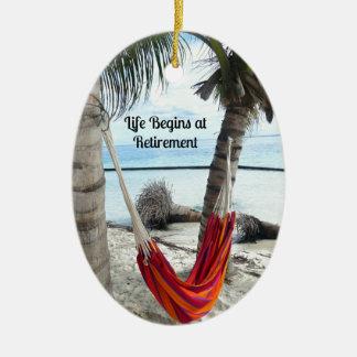 Retirement: Hammock on the Beach Ceramic Ornament