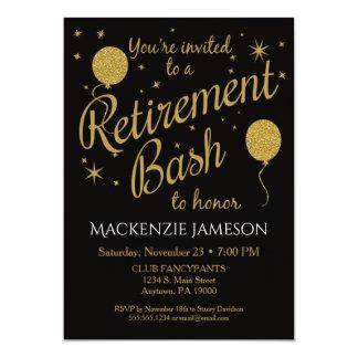 Retirement Invitation Festive Party Gold Balloons
