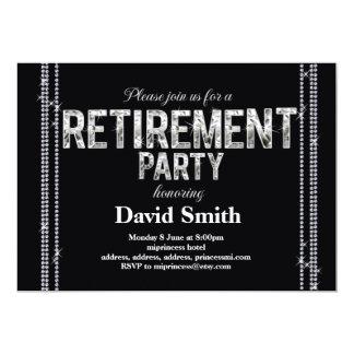 Retirement invitation, glitter, glam black card