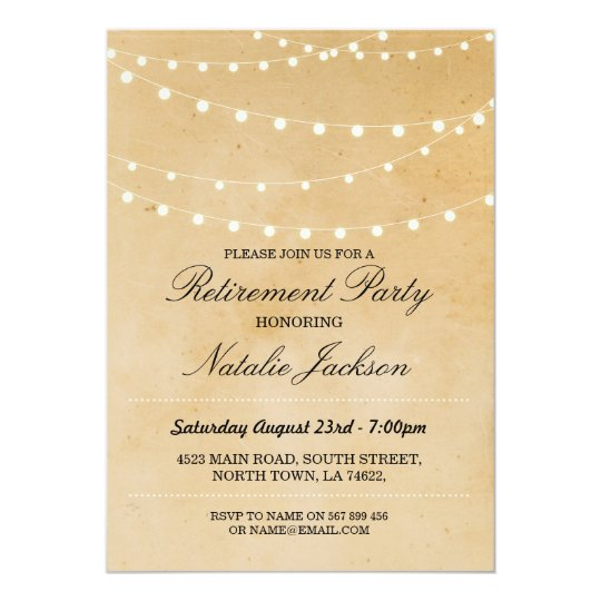 Retirement Invitation Vintage String Lights Invite