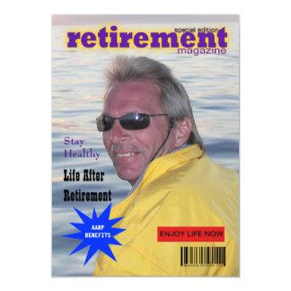 """Retirement Magazine Cover 5"""" X 7"""" Invitation Card"""