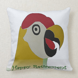 Retirement Parrot Head Collage Green Throw Pillow