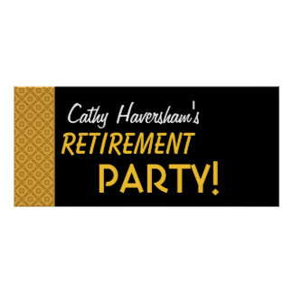 Retirement Party Banner Custom Name Gold Black Poster