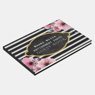 Retirement Party Black Stripes | Elegant Floral Guest Book