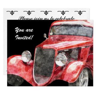 "Retirement Party Classic Hotrod Collector Car 4.25"" X 5.5"" Invitation Card"