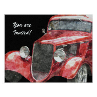 Retirement Party Classic Hotrod Collector Car Invitation