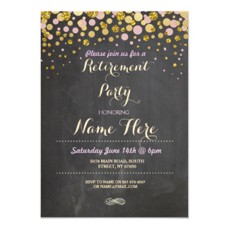 Retirement Party Elegant Retired Gold Chalk Invite