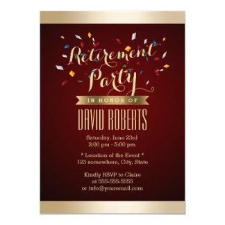 "Retirement Party Elegant Wine Red Gold Stripes 5"" X 7"" Invitation Card"