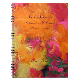 Retirement Party Guest Book, Orange Feathers Notebook