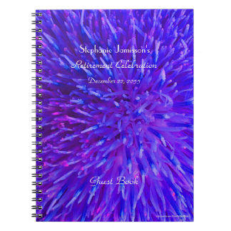 Retirement Party Guest Book Purple Abstract Floral