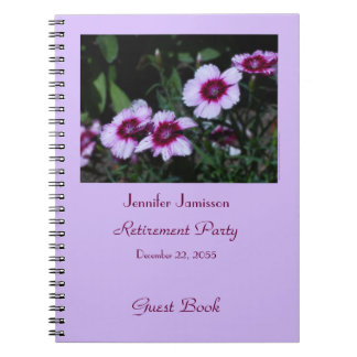Retirement Party Guest Book, Purple Flowers Spiral Notebook