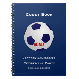 Retirement Party Guest Book, Soccer, Goal Notebook