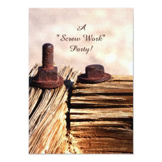 "Retirement Party Invitation, Funny, Screw Work 5"" X 7"" Invitation Card"