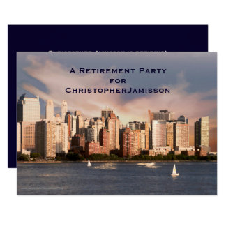 "Retirement Party Invitation, NYC Manhattan Skyline 5"" X 7"" Invitation Card"