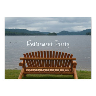 Retirement Party-Lakeview with Wooden Bench Card