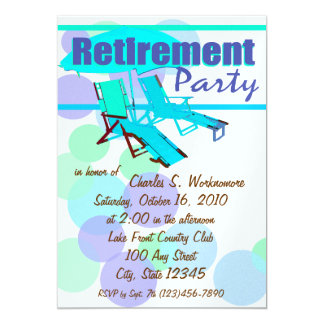 """Retirement Party/ Lounge Chairs 5"""" X 7"""" Invitation Card"""