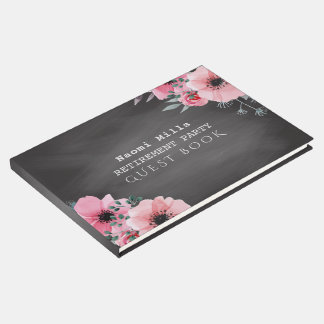 Retirement Party Pink Flowers | Teacher Chalkboard Guest Book