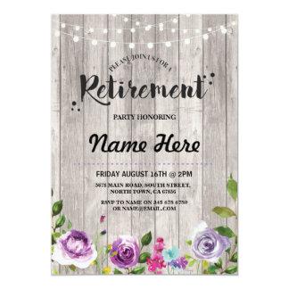 Retirement Party Rustic Purple Floral Invite