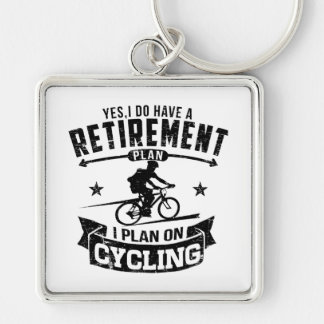 Retirement Plan cycling Keychain