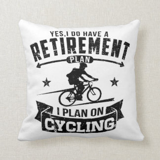 Retirement Plan cycling Throw Pillow
