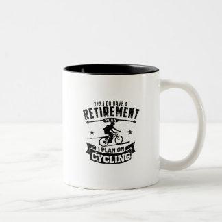 Retirement Plan cycling Two-Tone Coffee Mug