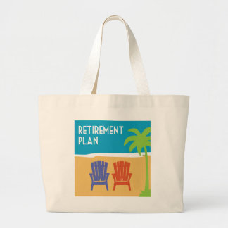 Retirement plan funny gift with beach chairs large tote bag